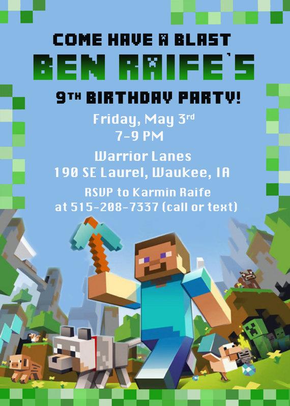 9 Images of Minecraft Birthday Invitations Printable