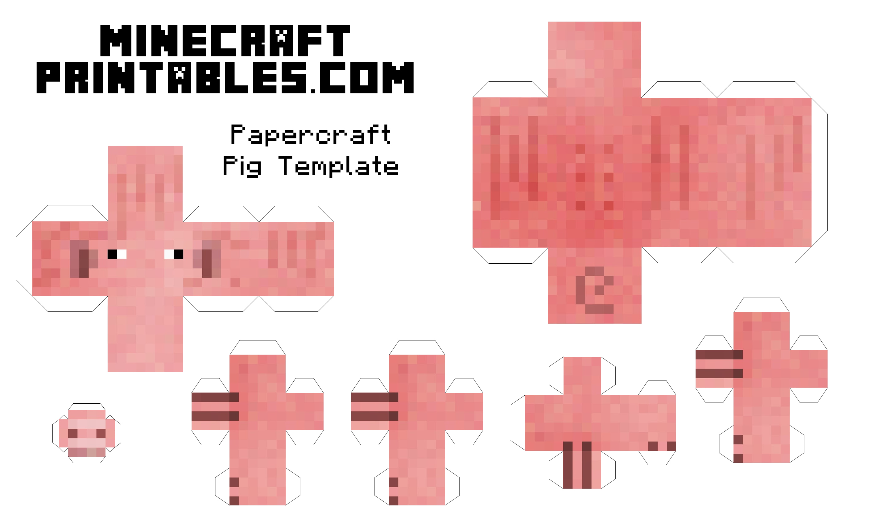 7 Images of Minecraft Pig Printable