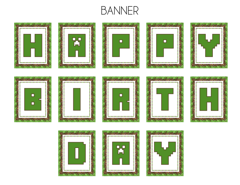 7 Images of Free Minecraft Printable Birthday Banner