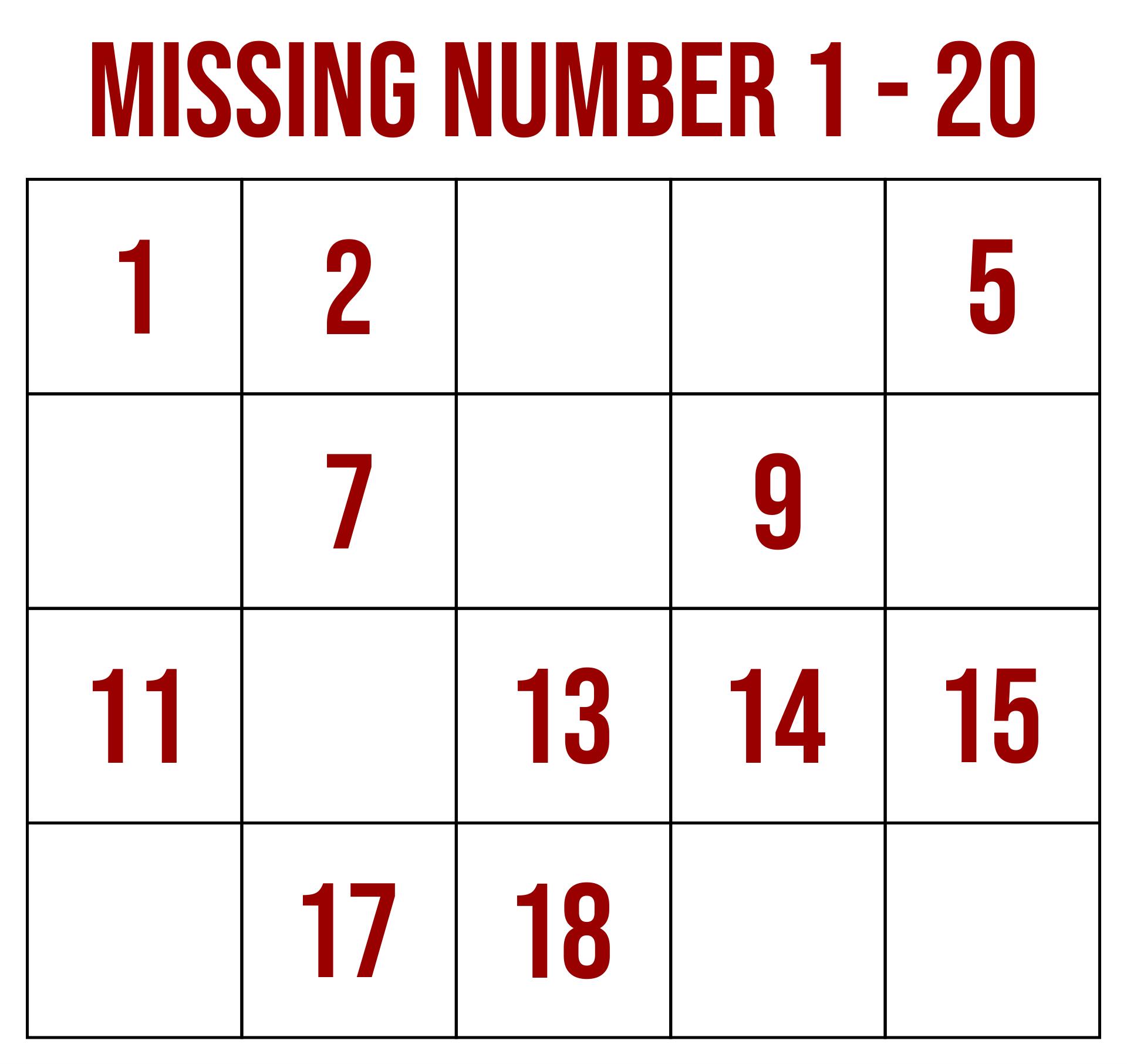 Missing Number Worksheets 1-20