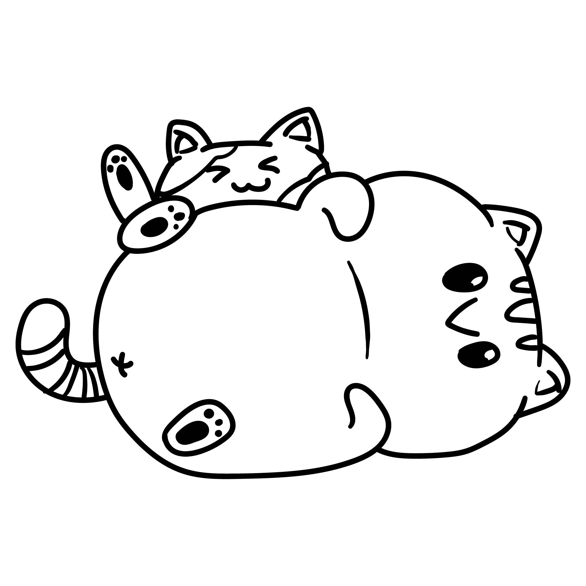 Mom and Baby Cat Coloring Page