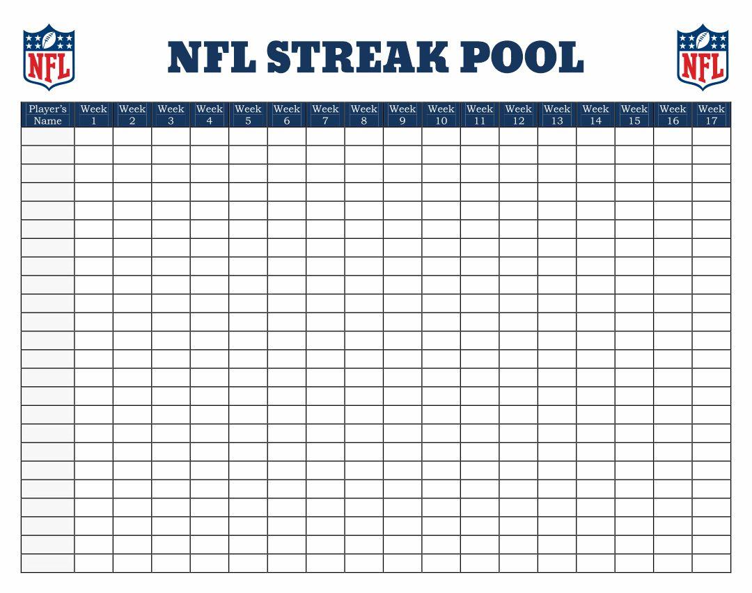 NFL Printable Football Pool Sheets