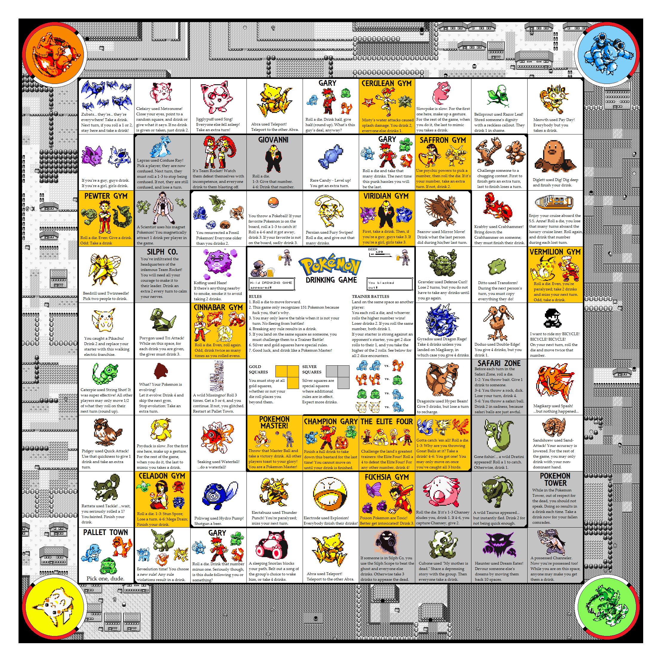 Pokemon Drinking Board Game