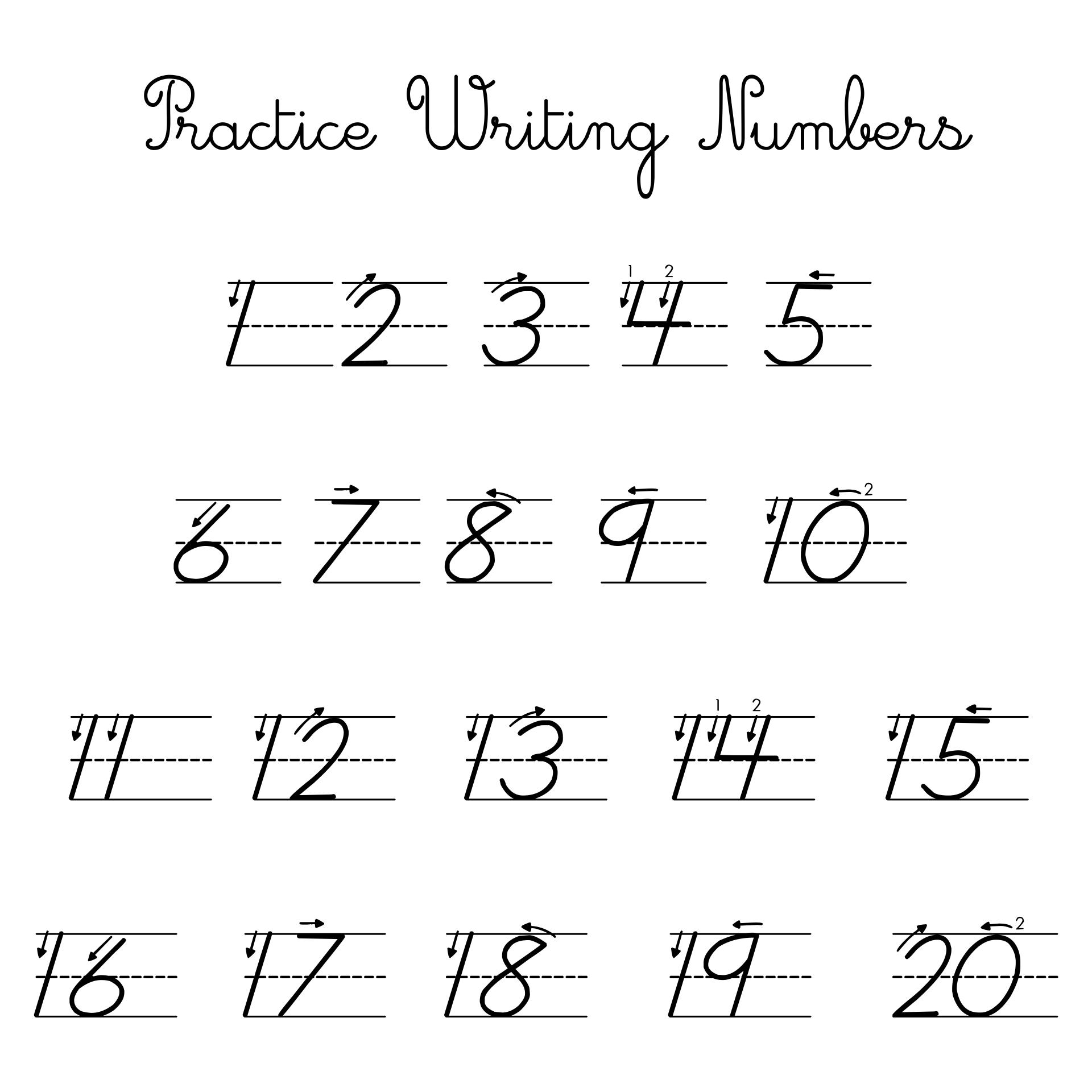 Practice Writing Numbers 1 20 Worksheet