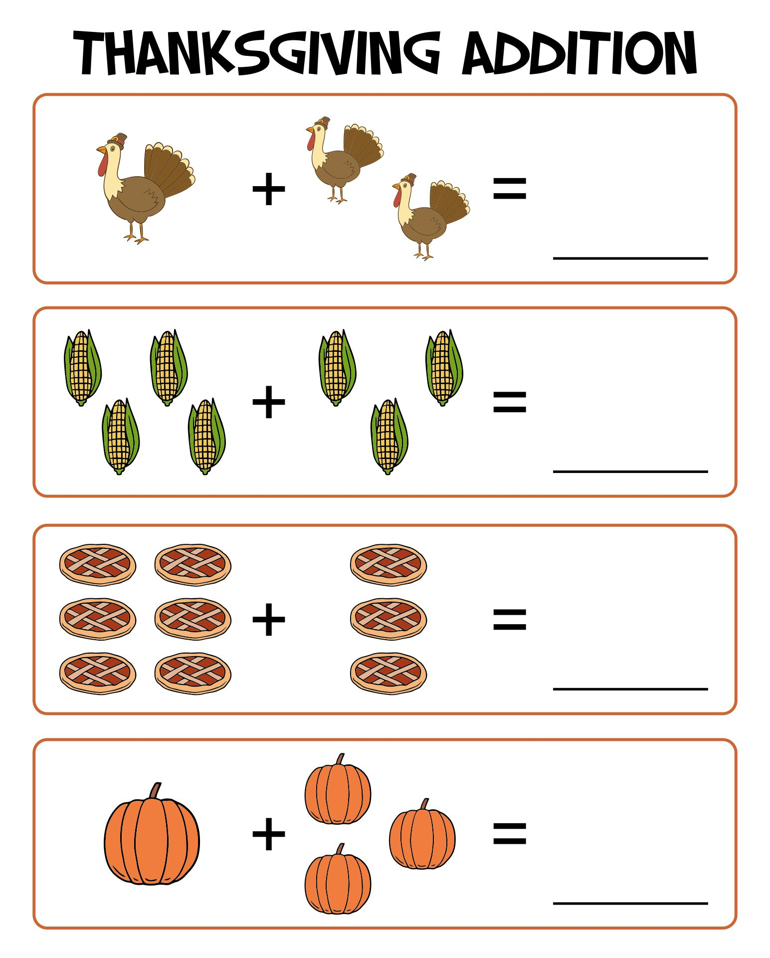 6 Images of Thanksgiving Preschool Printables