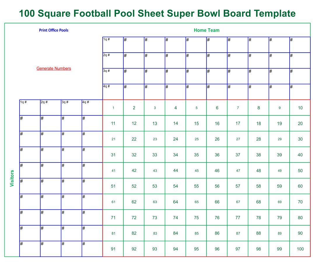 Printable 100 Square Football Pool Template