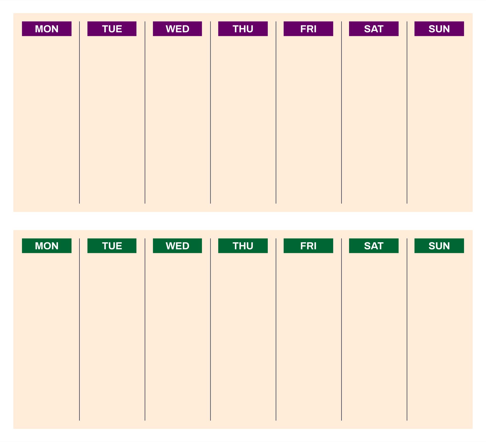 Printable 2 Week Blank Calendar Template
