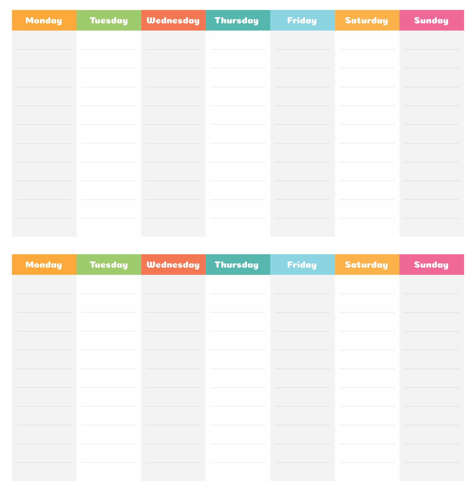 Printable 2 Week Calendar Template