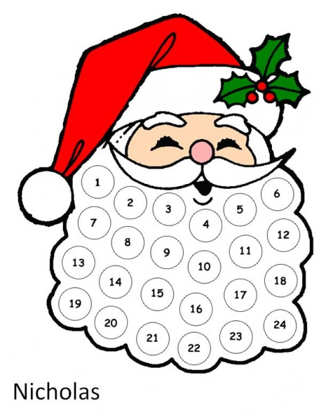 5 Images of Santa Countdown Printable Calendar