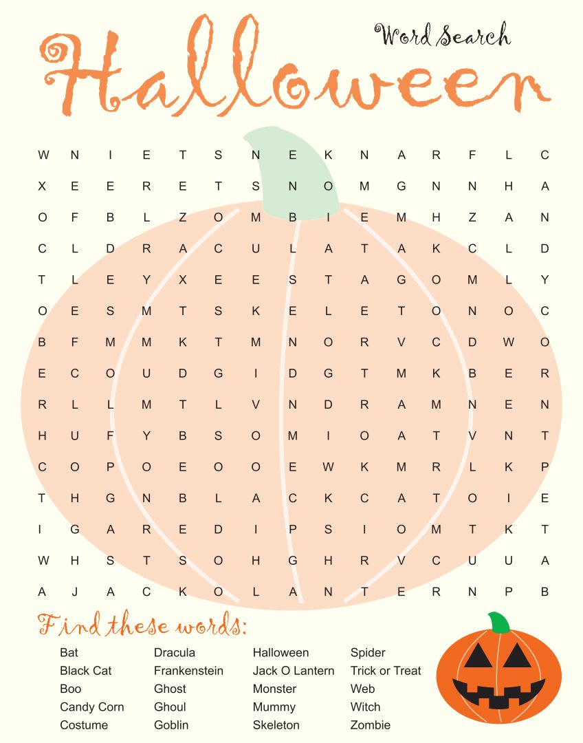 6 Images of Long Halloween Word Search Printable