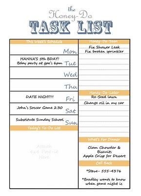 Printable Honey Do List Task