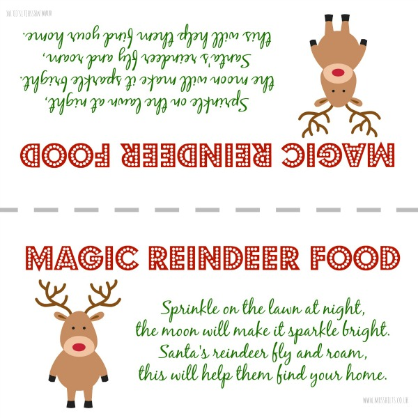 4 Images of Magic Reindeer Food Printable