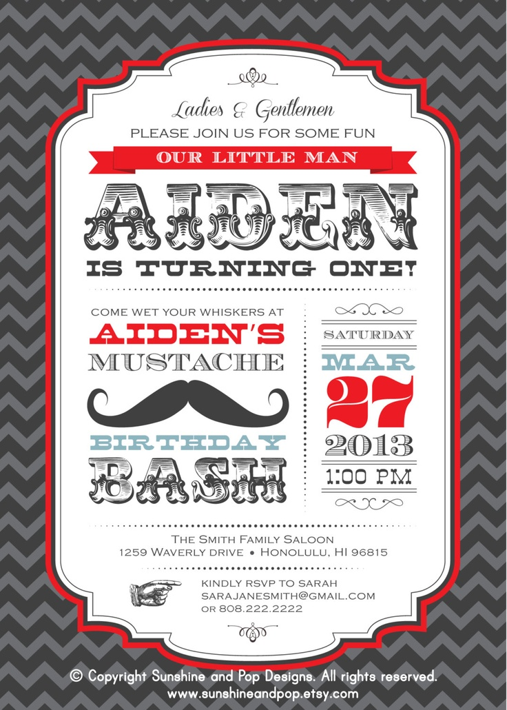 4 Images of Mustache Birthday Invitation Printable
