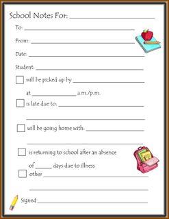 Printable School Note