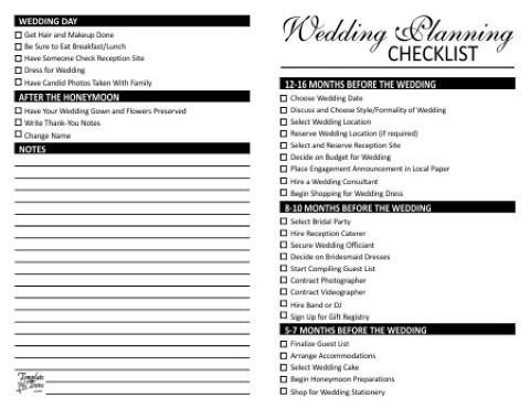 5 Images of Wedding List Planner Free Printable