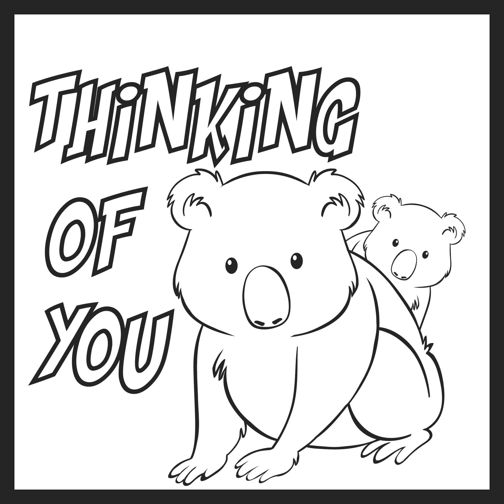 Thinking of You Card Coloring Pages