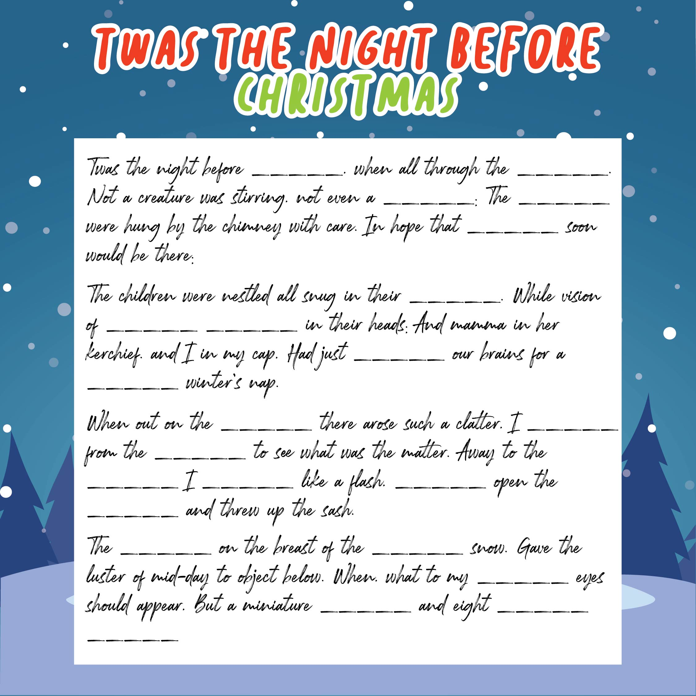 6 Images of Night Before Christmas Mad Libs Printable