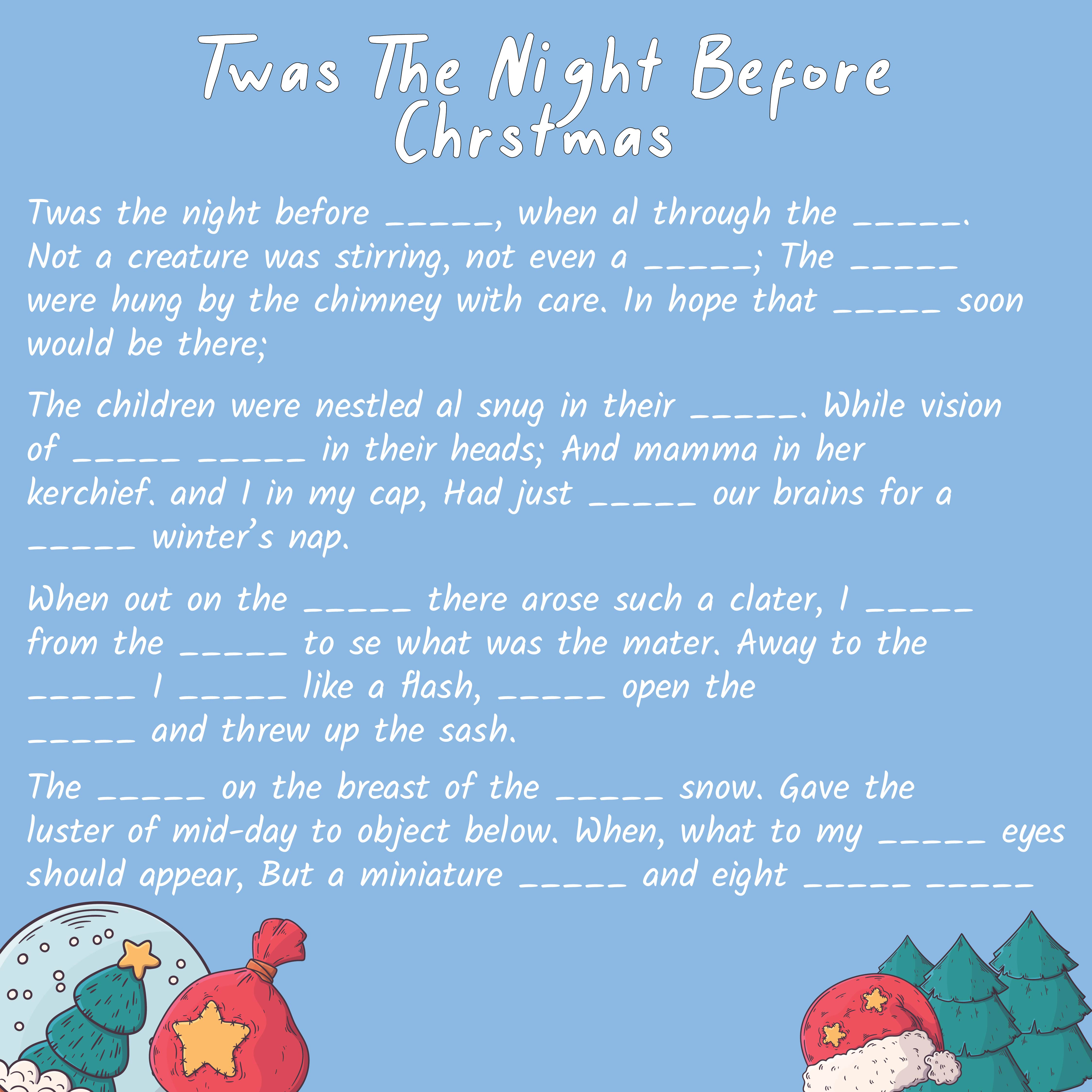 of Night Before Christmas Mad Libs Printable - Twas the Night Before ...