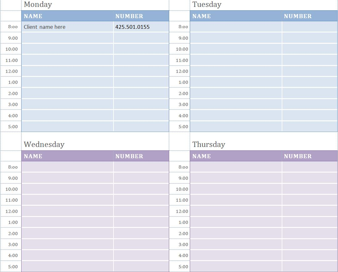 8 Images of Printable Weekly Appointment Calendar