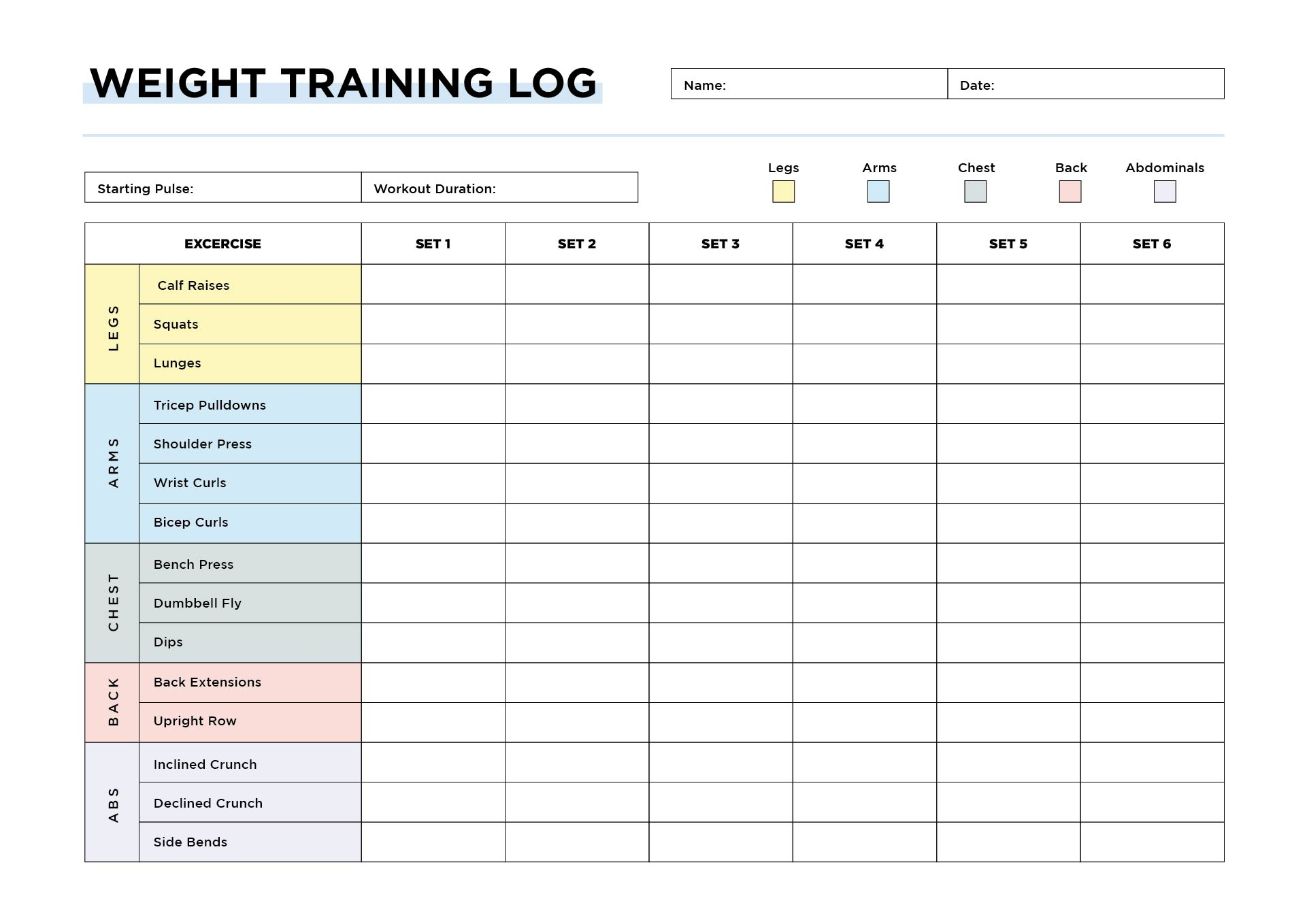 9 best images of weight lifting journal printable workout log weight training workout log template