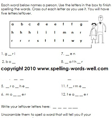 6 Images of 2nd Grade Spelling Printables