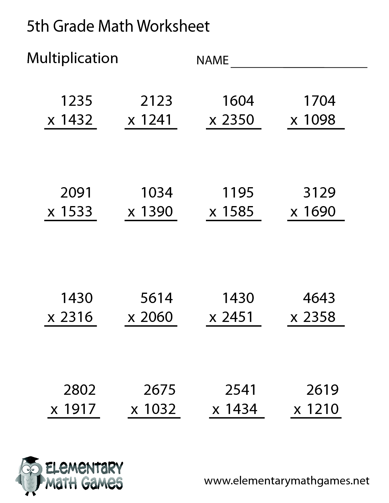 Multiplication worksheets grade 4 online