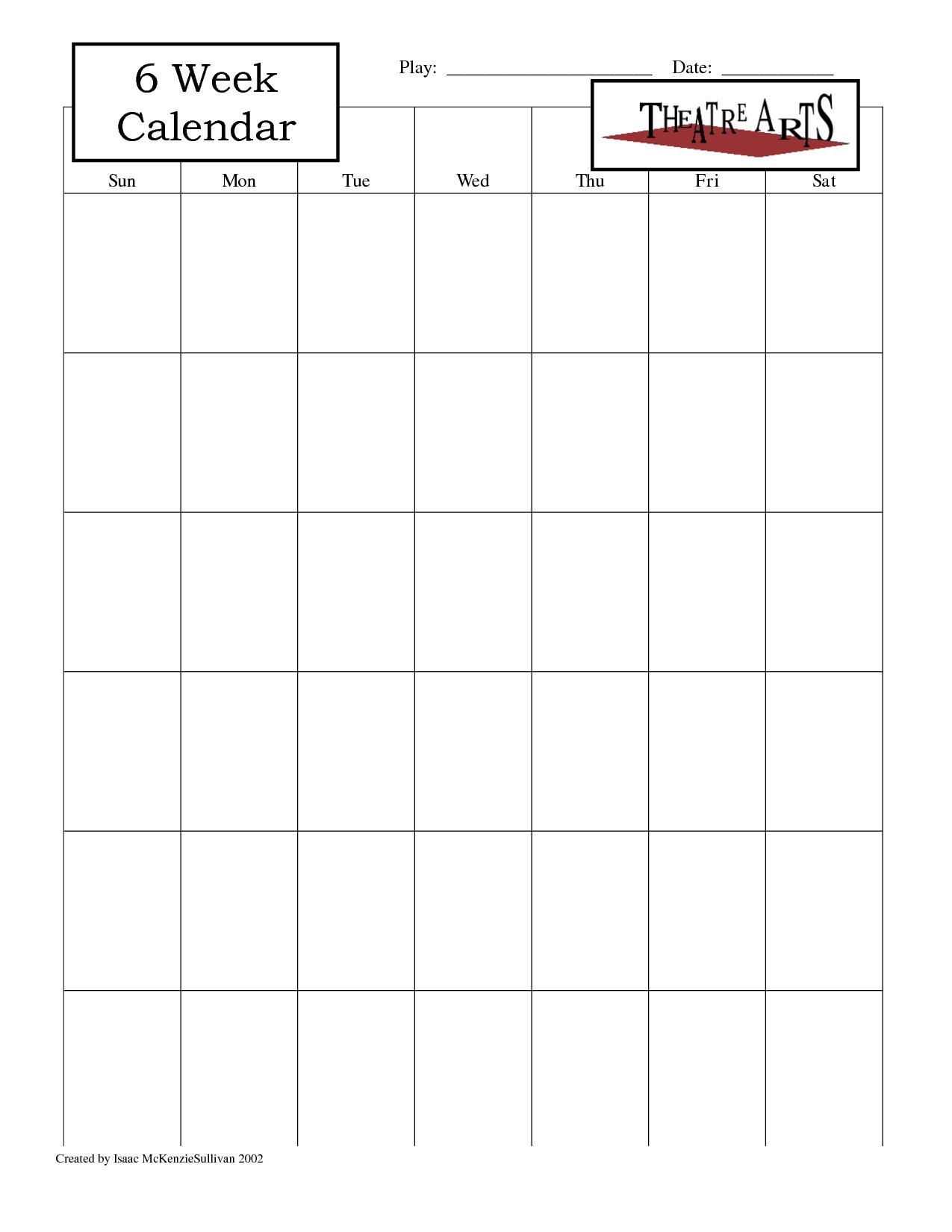 blank one week calendar