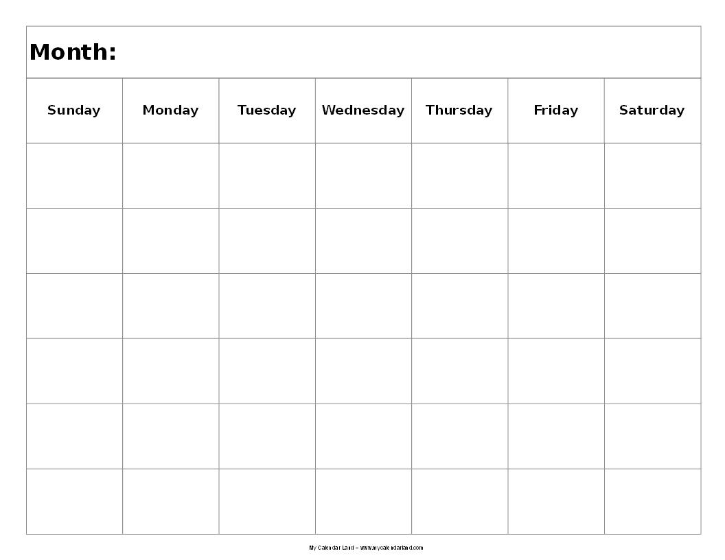 5 Images of 6 Week Blank Calendar Printable
