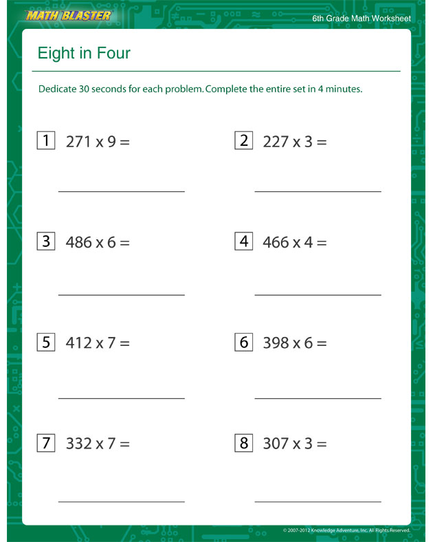 6th grade algebra practice worksheets