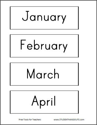 Number Names Worksheets : free printable months of the year ~ Free ...