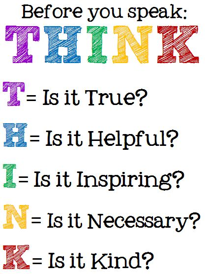 5 Images of Free Printable Think Before You Speak