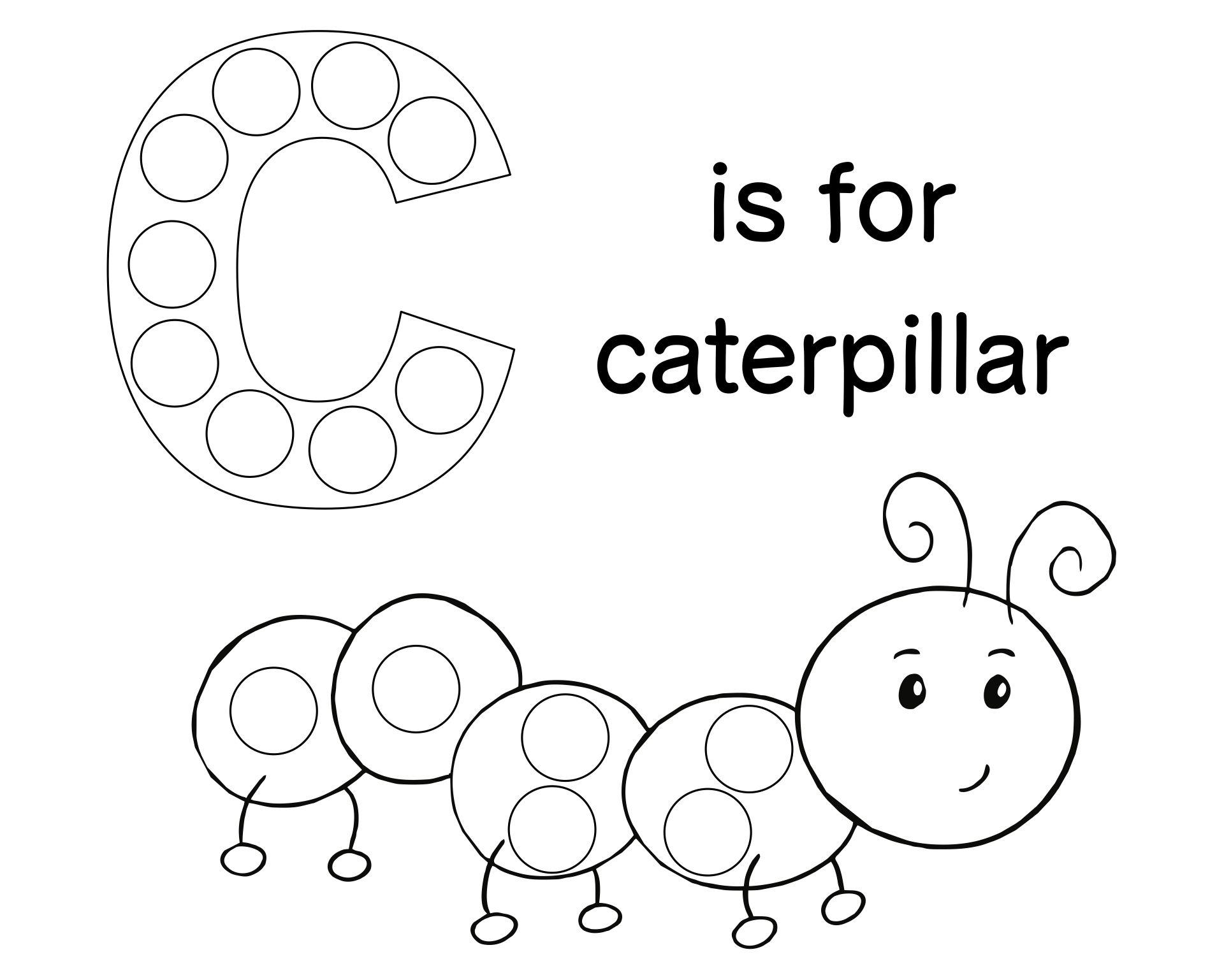 C Is for Caterpillar Dot Paint Worksheet