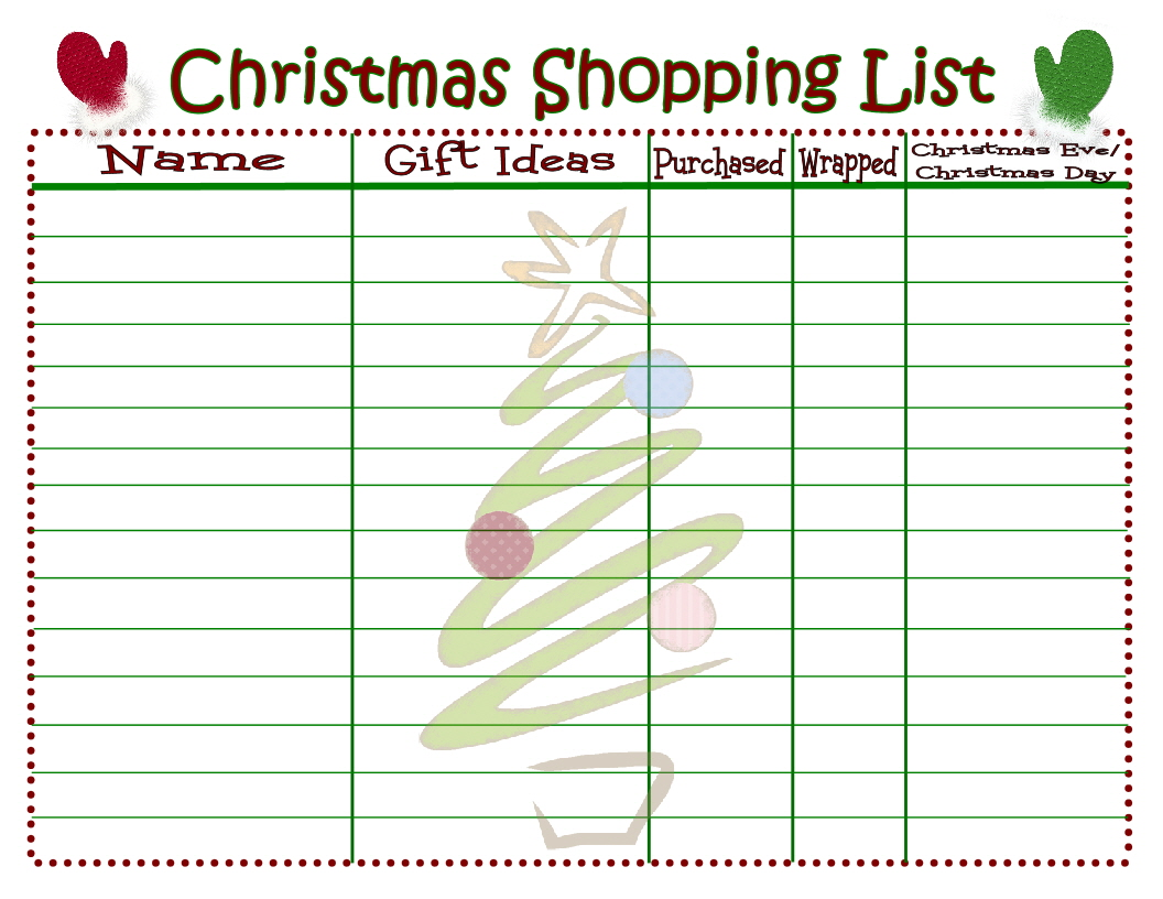 Christmas Shopping List Printable