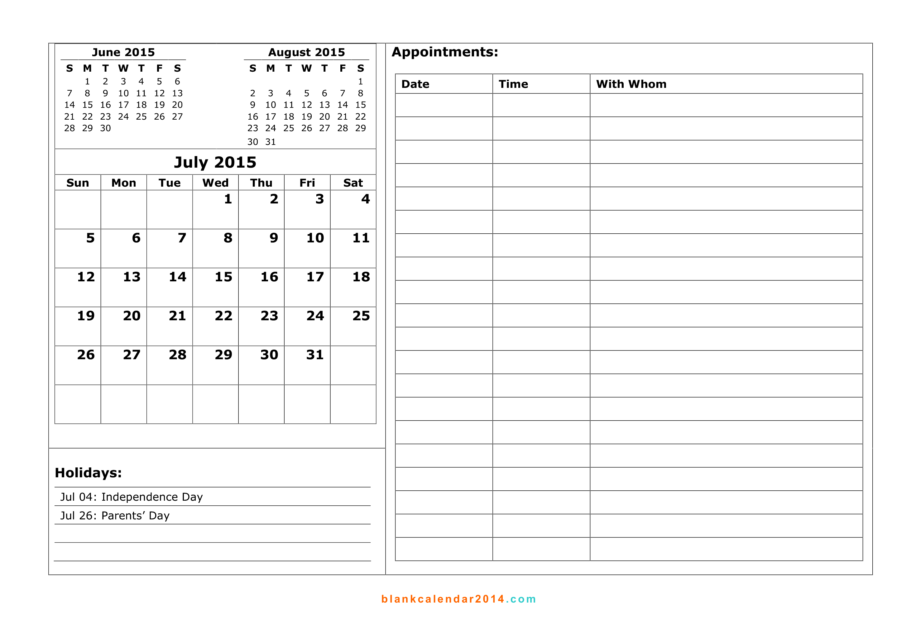 8 Images of 2015 Free Printable Weekly Appointment Calendar