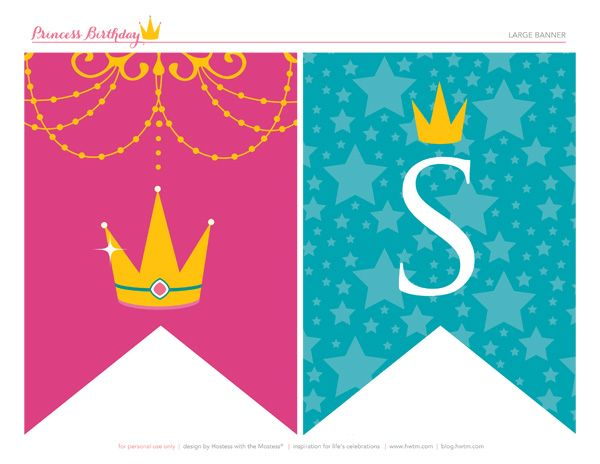 6 Images of Free Printable Princess Party Banner