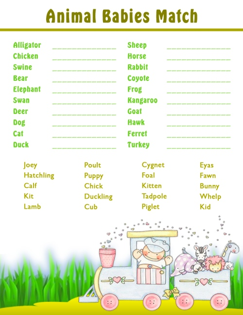 6 Images of Free Printable Baby Animal Game