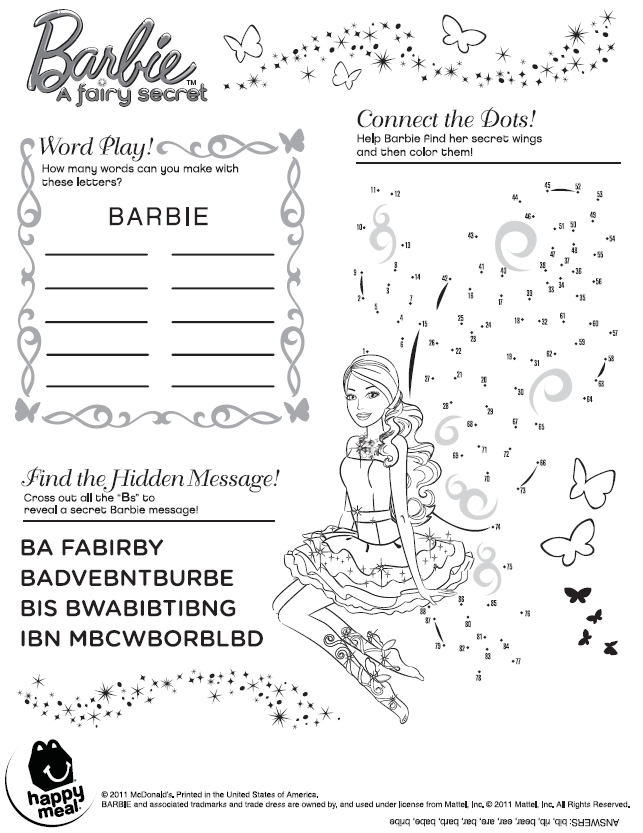 4 Images of Barbie Word Search Puzzles Printable