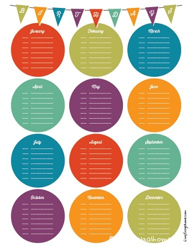 6 Images of Printable Birthday List Calendar
