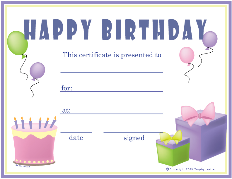 6 best images of birthday printable gift certificates for Birthday gift certificate template