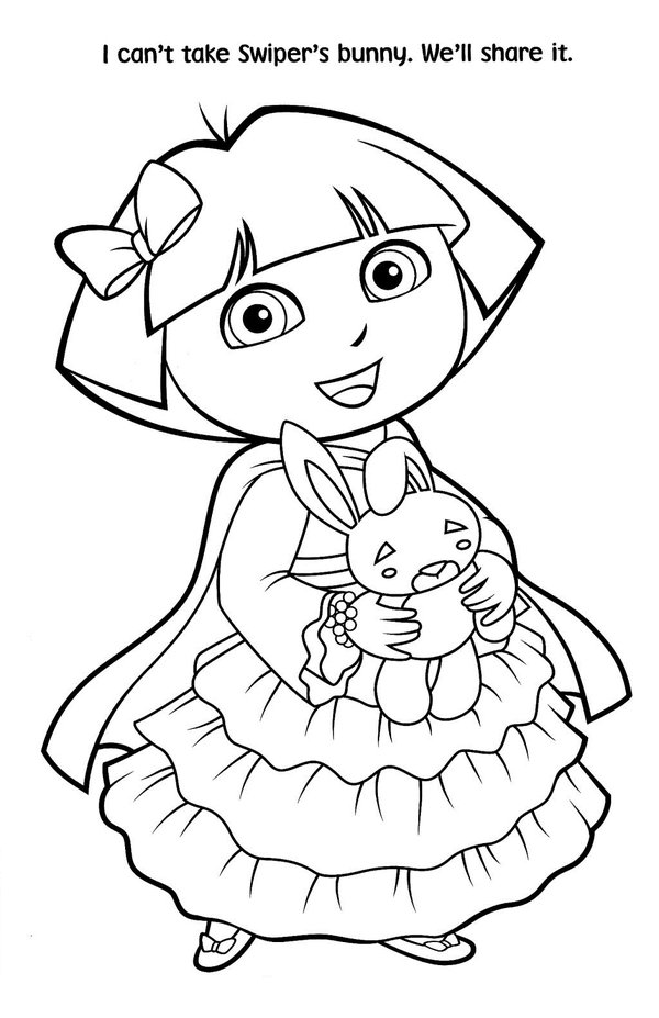 5 Images of Free Dora Printable Coloring Pages