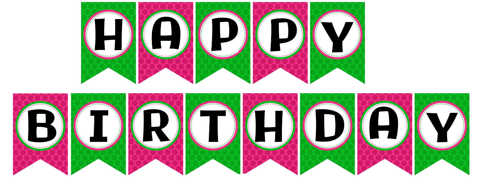 Free printable happy birthday banner in green and purple color