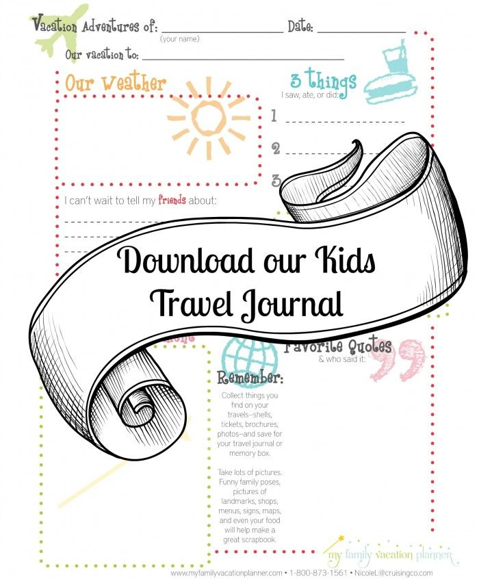 Free Printable Kid Travel Journal