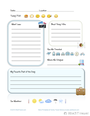 Free Printable Kids Travel Journal Page