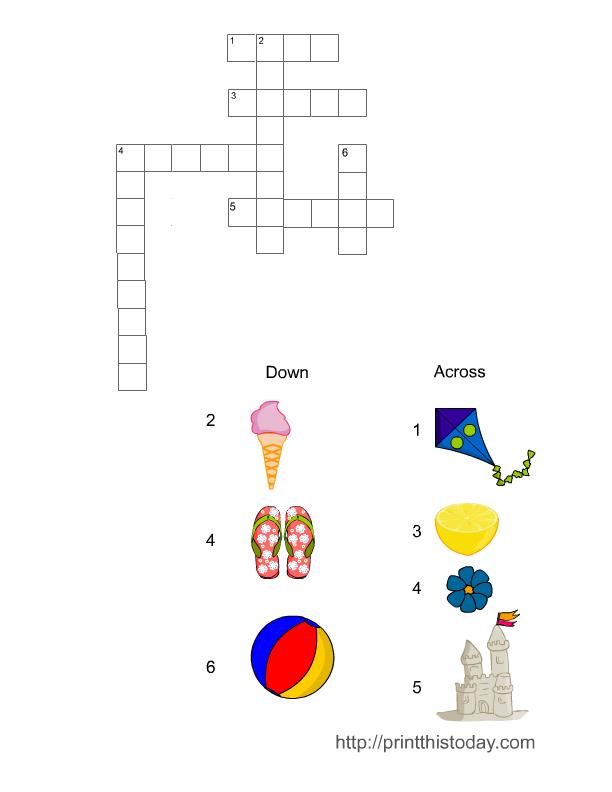 Free Printable Summer Crossword Puzzles