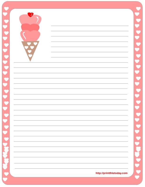 Free Printable Valentine Stationery Template