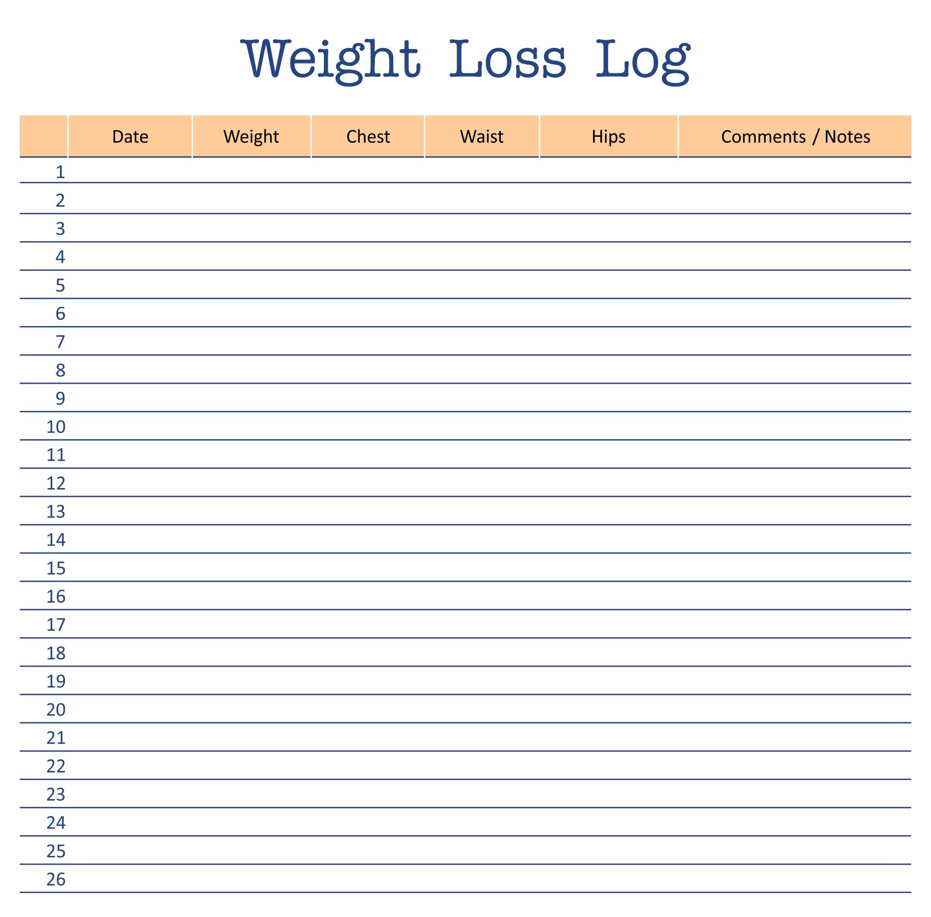 Printable Weight Loss Log Sheet