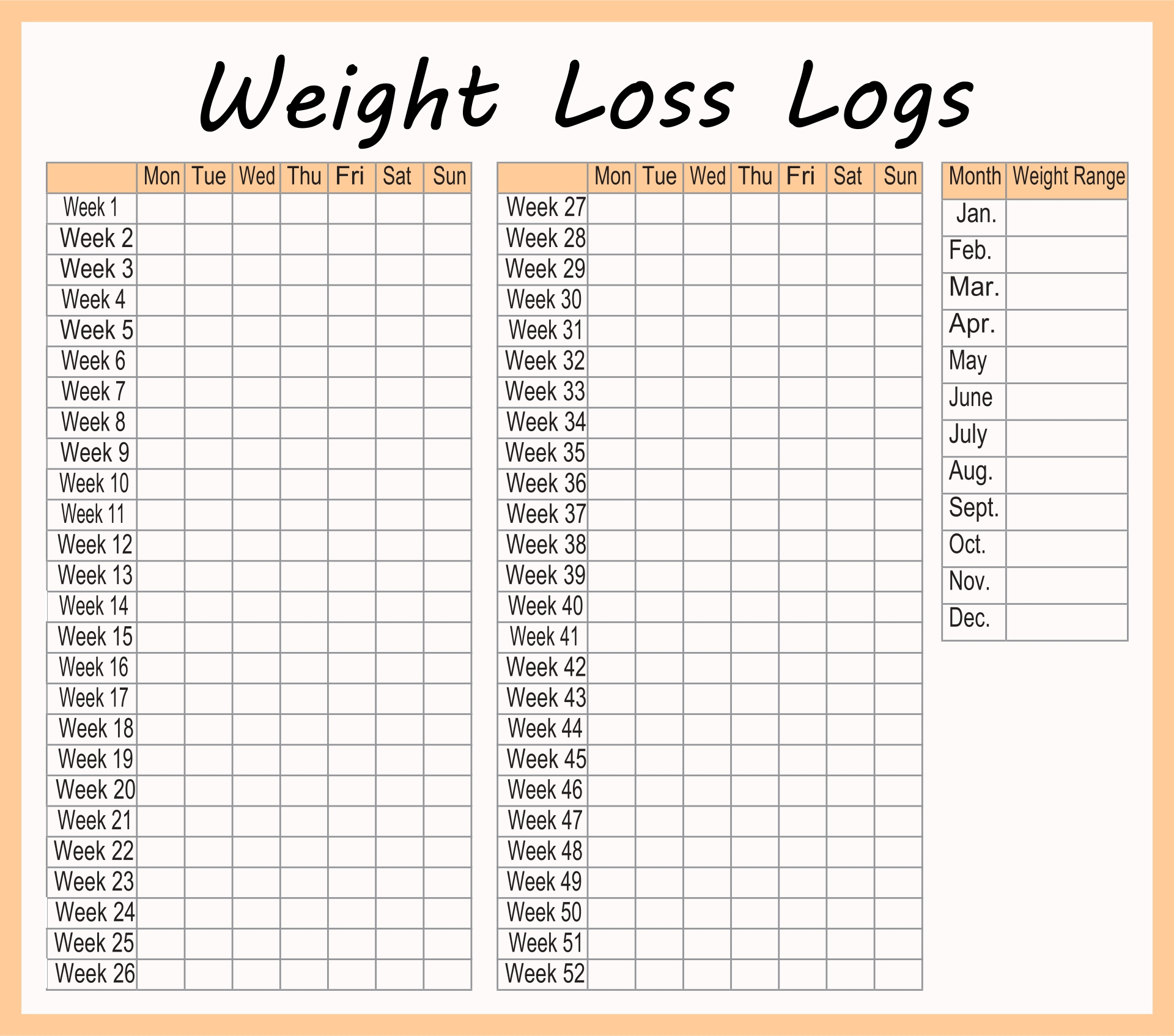 Journal Template Printable, Free Printable Weight Loss Logs & Free ...