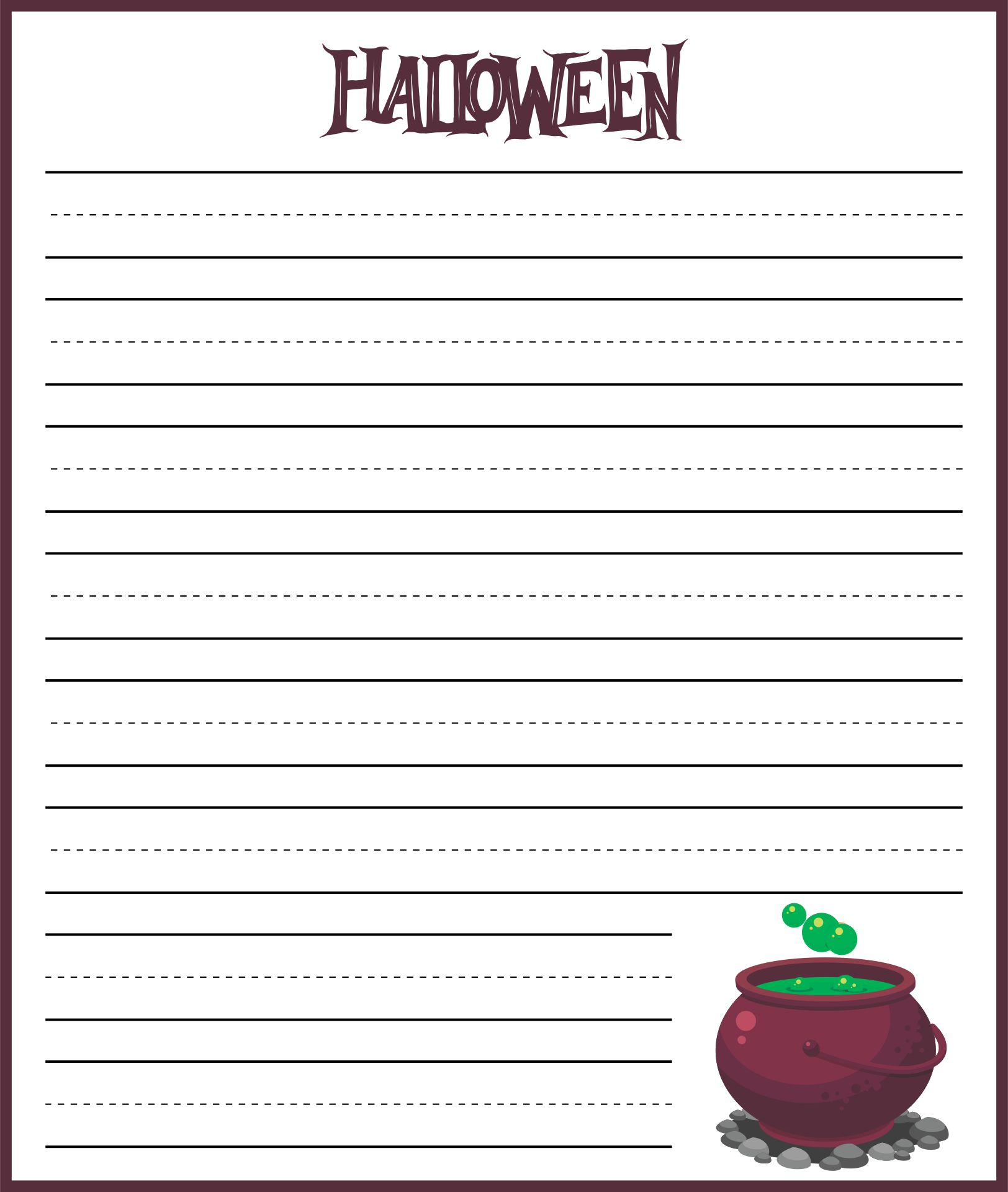 Spooky writing paper
