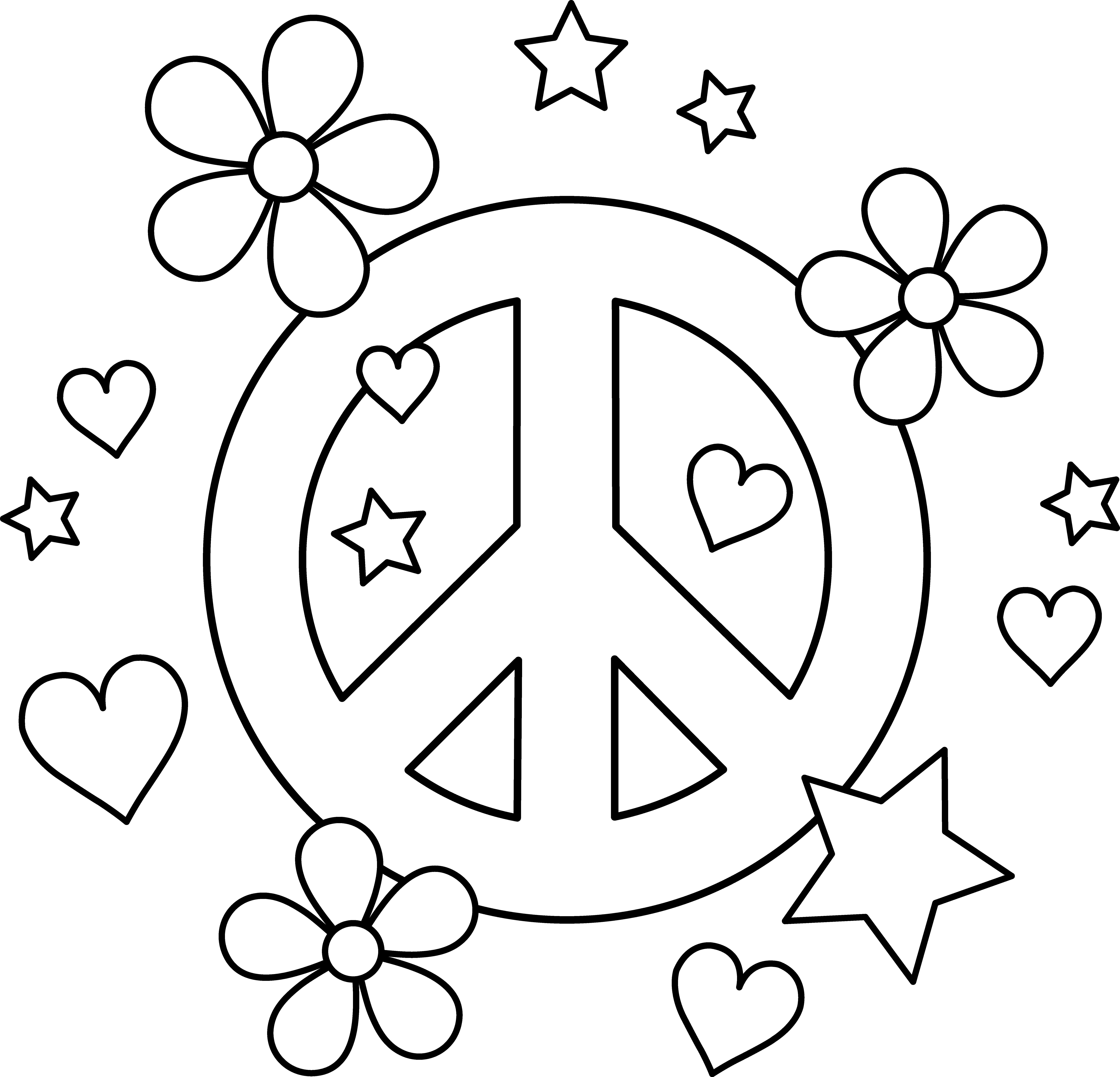 7 Best Images Of Peace And Love Coloring Pages Printable Pages Free