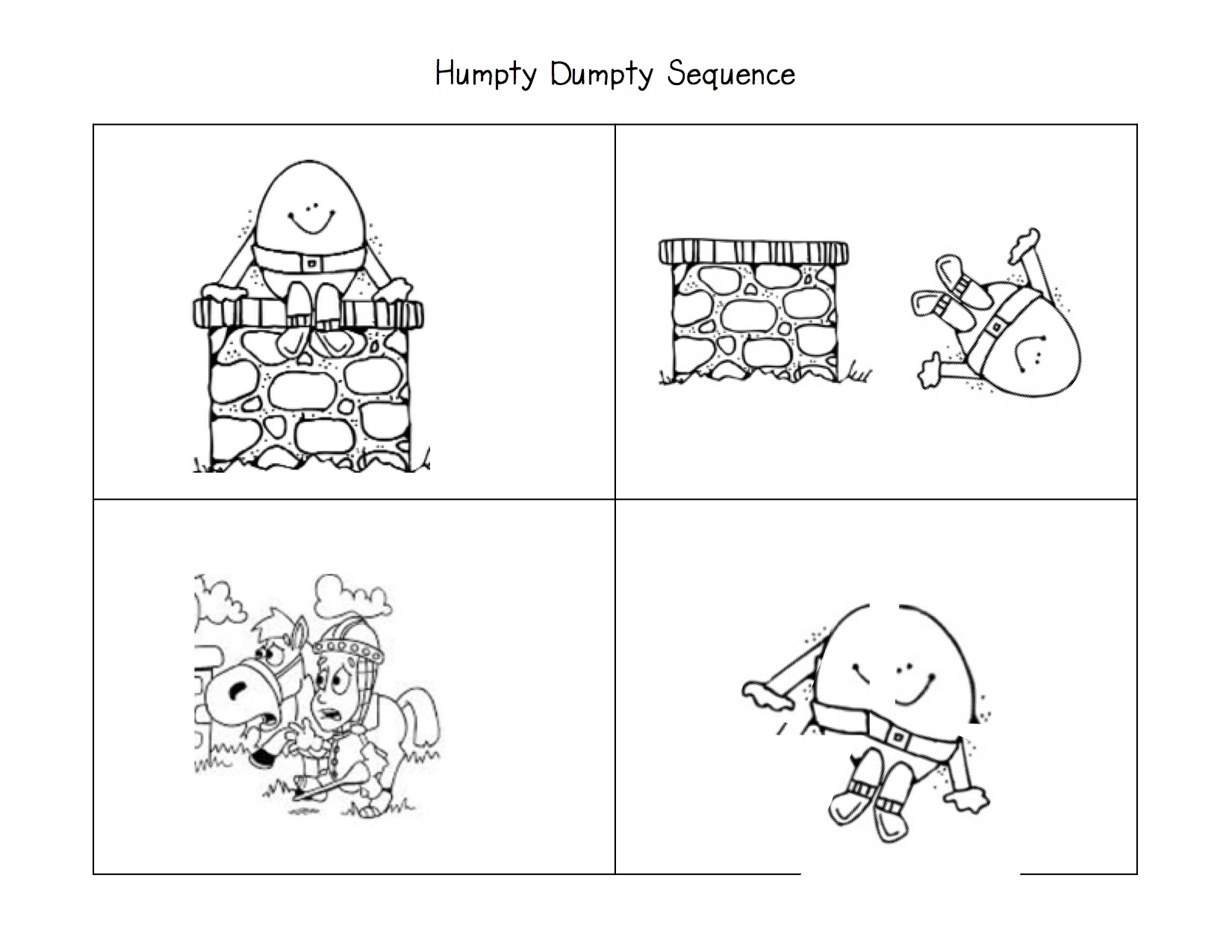 6 Images of Humpty Dumpty Sequencing Cards For Printable